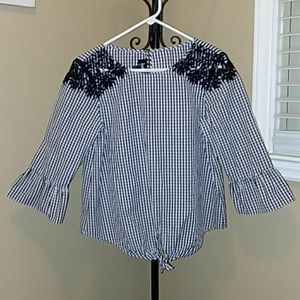 by & by Black and White Check Blouse Size L